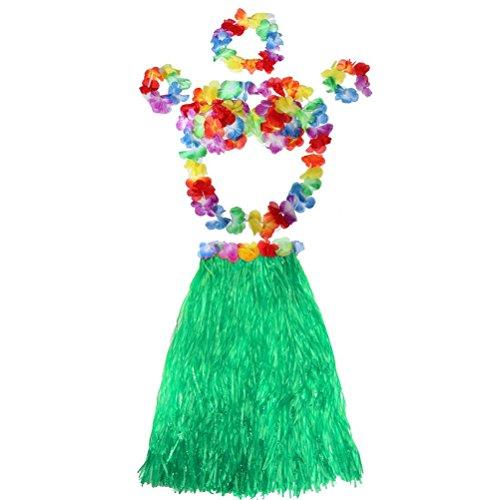 LUOEM Hawaiian Hula Gras Rock Tropical Dance Rock mit Blumen Armbänder Stirnband Halskette Set (grün)