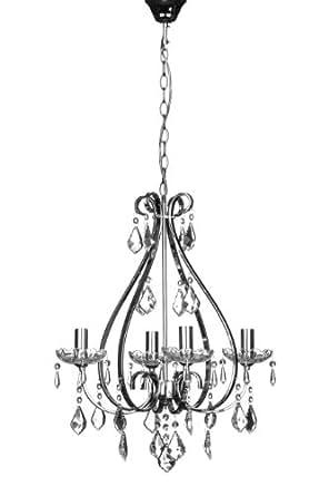 Premier Housewares 2501609 Lustre Dominique avec 4 Bras Cadre en Fer Chromé/Cristal/Verre 46 x 46 x 13 cm