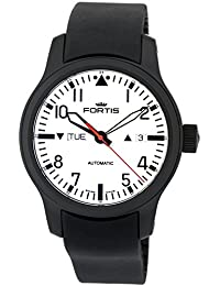 Fortis Nocturnal Automatic Black PVD Steel Mens Rubber Strap Watch Day Date 655.18.12.K