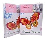 Juego de cortina y edredón AuraHome TM, para cama individual, poliéster algodón, diseño de mariposa, suelto