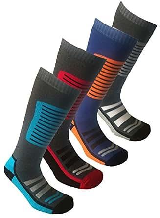 4 Pairs Mens Long Hose High Performance Ski Socks UK 11-13 (EUR 45-47.5)