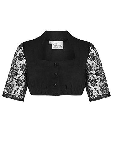 Schöneberger Trachten Couture Elegante Dirndlbluse - Damen Dirndl Bluse mit Edler Knopfleiste und Spitze Wiesnklee schwarz (40)