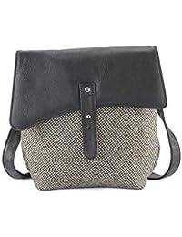 0263a1c8eadd Islay Tweed and Luxury Leather  Morag  Ladies Handbag Cross Body Bag in  Black