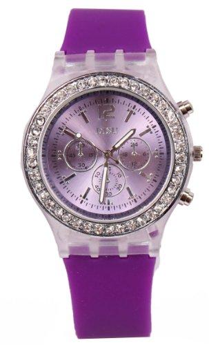 Damen Uhr Armbanduhr Silikon Strass viele farben