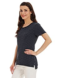 Tommy Hilfiger Womens Striped T-Shirt (P7AJK135L_Blue and Snow White)