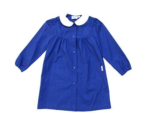 Siggi grembiule scuola bambina, grembiule blu/bianco per bambina, grembiule semplice senza disegno, atossico - art. 2888 (7 anni | 122 cm, bluette)