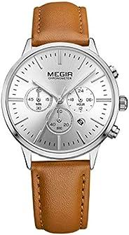 Megir Womens Quartz Watch, Chronograph Display and Leather Strap - 2011L-1