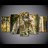 YKJMHL 100 * 55cm Quadri su Tela Quadri Soggiorno Decorazioni per la casa 5 Pezzi Foresta di Lupi Legname Paesaggio Immagini Animali Poster