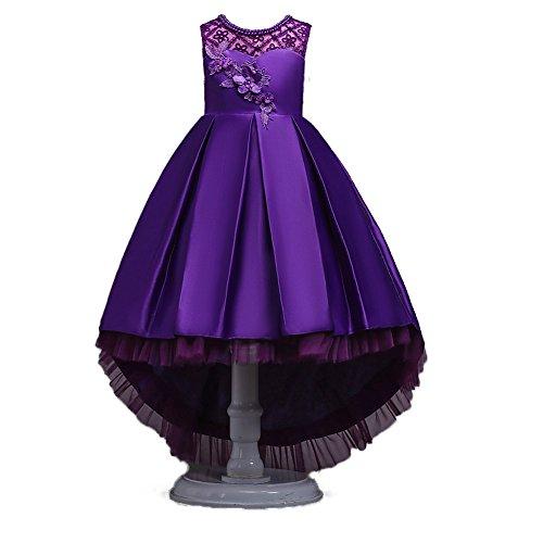 Wulide Kinder Mädchen Abendkleid Prinzessin Kleid Festkleid mit Blumen, Violett,...