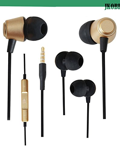 Jkobi Ear Shape Fit Volume Control Metal Earphones Headset Compatible For Panasonic Eluga L2 -Gold  available at amazon for Rs.289
