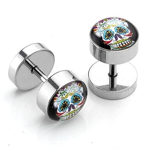JSDDE 1.2mm Faux Ecarteur D'Oreilles Barbell Haltere Piercing Plug Boucle D'Oreilles Acier Inoxydable
