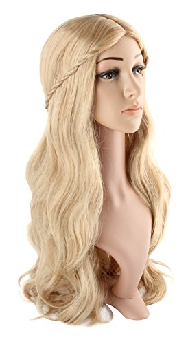 Damen Blond Perücke Lockige Gelockt Gewellt Lang Welle Haar Wig für Kostüm Cosplay Party Karneval Fashion ca.70 cm von (Langes Haar Lockiges Perücken)