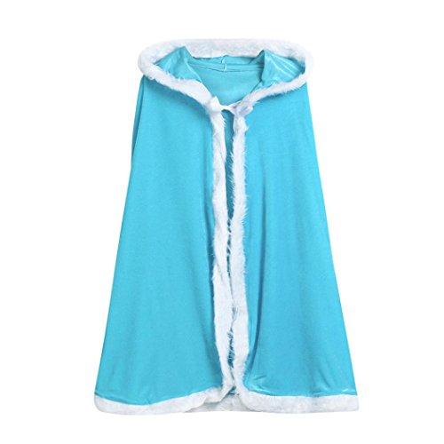 Baby Kapuzenpullover mantel Hirolan Weihnachtskostüm Sankt Cosplay Festliche Kinderkleider Kap Robe Kinderkleidung Sweatshirt Flannelette Mädchenkleider für Party, Maskerade (Blau, 84cm/33.0