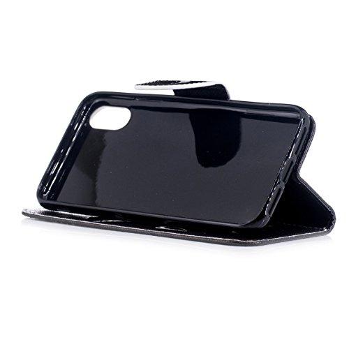 Coque pour Apple iPhone 8 WYSTORE Coloré Motif PU Cuir portefeuille Housse Etui pour Apple iPhone 8 Case Coque Protection avec Béquille Flip Cover avec carte de crédit Slots - A08 A01