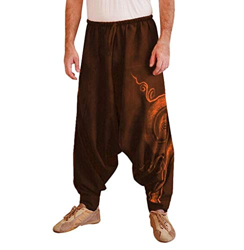 Tomatoa Herren Haremshose Baggy Pumphose Yoga Tanz Strand Hosen Freizeithose Pluderhose Aladin Pants Männer Pumphosen Pluderhose Retro Drucken Aladinhose Pluderhose - Herren-baggy-hose