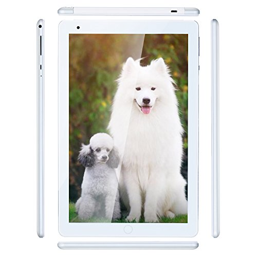 Haehne 10 1 Pulgadas Tablet Google Android 4.4 gsm WCDMA 3G Phablet HD 1280 * 800P Pantalla capacitiva Quad Core 1.3GHz A7 1GB+16GB Cámaras Duales 2.0MP+0.3MP 4500mAh WiFi Plata