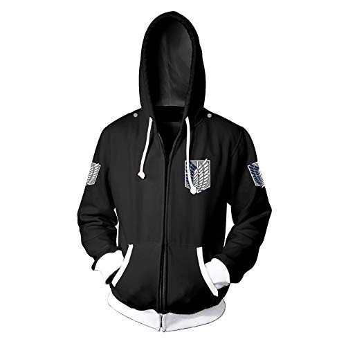 Memory meteor Attack on Titan Jacke Cosplay Jacke Kostüm Shingeki No Kyojin Langarm Hoodies Sweater Jacken Mäntel,Black,M