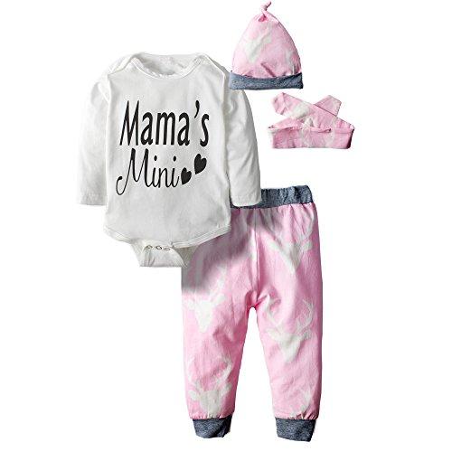 Big Elephant 3 Stück Baby Mädchen Body Lange Ärmel Top Pants Kleidung SET 29 Gr. 12-18 Monate, mehrfarbig