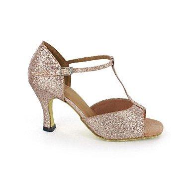 XIAMUO Latin Frauen Sandalen funkelnden Glitter Stiletto Heel Buckie Dance Schuhe Gold