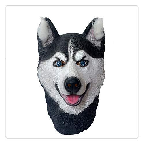 Z-one 1 Husky Hunde/Welpen Deutscher Schäferhund Tierkopfmasken blaue Augen Halloween Party Kostüm Dekoration