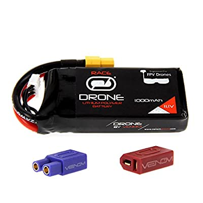 Venom 50C 3S 1000mAh 11.1V Drone Racing LiPo Battery with Universal 2.0 Plug (XT60/Deans/EC3)