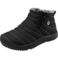 JIASUQI Girls Boys Winter Warm Snow Boots Kids Waterproof Flat Ankle Outdoor Bootie with Full Fur