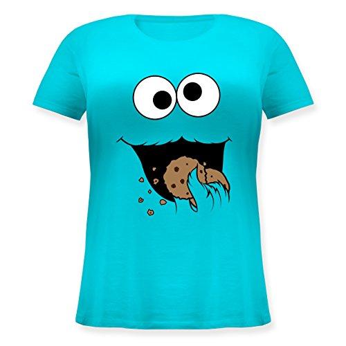 Karneval & Fasching - Keks-Monster - L (48) - Hellblau - JHK601 - Lockeres Damen-Shirt in großen Größen mit Rundhalsausschnitt
