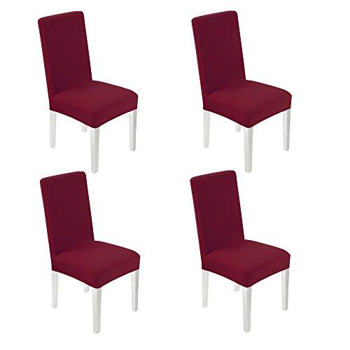 Wanyi 4 pezzi coprisedie sala da pranzo universale coprisedie con schienale elasticizzato lavabile copertura della sedia con banda elastica per una misura universale (vino rosso)