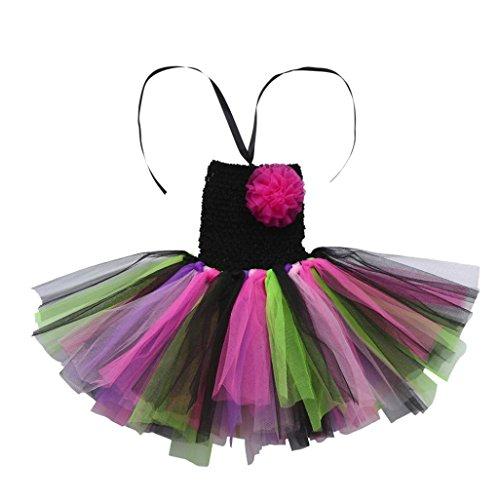 Mitlfuny Komplettes Kostüm für Kinder Mädchen Kleid Ballettkleid mit Blumen Stirnband Karneval Faschingskostüme Neugeborene Floral Tutu (2-5Jahre, G)