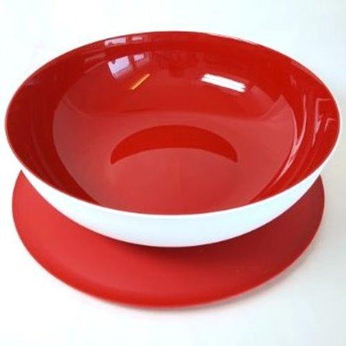 TUPPERWARE Allegra 3,5 L rot weiß Servier Schüssel Schale Servierschalen