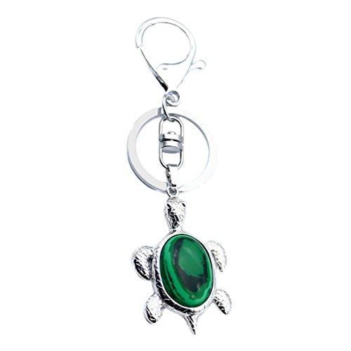 Prettyia Karabiner mit Ring Schlüsselanhänger Schlüsselbund Haken mit Schildkröte Anhänger - Malachit - Männer Ringe Aventurin Für