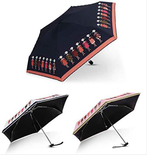 Mhsm Regenschirm, modisch, faltbar, Schmetterlingsdesign, leicht, tragbar, faltbar, manuell, Mini-Taschen-Sonnenschirm, Kaffeebraun