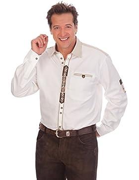 H1541 - Trachtenhemd mit Krempelarm - weiß