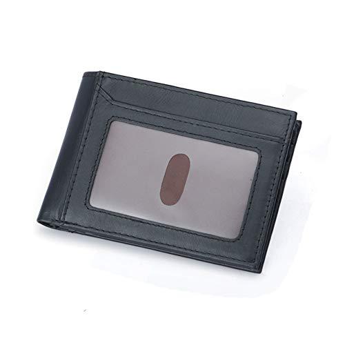Qiy Mens Trifold Wallet Rindsleder echtes Leder ID Fenster Kartenetui, RFID-Blockierung, Geldbörse für Männer,Black -