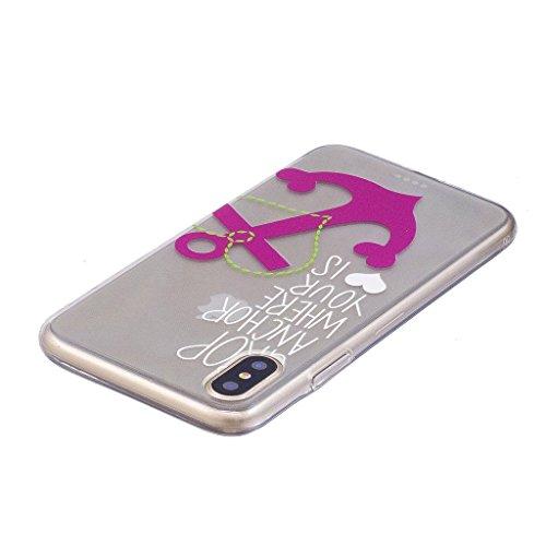 "Coque pour Apple iPhone X , IJIA Transparent Cheval TPU Doux Silicone Bumper Case Cover Shell Housse Etui pour Apple iPhone X (5.8"") FD5"