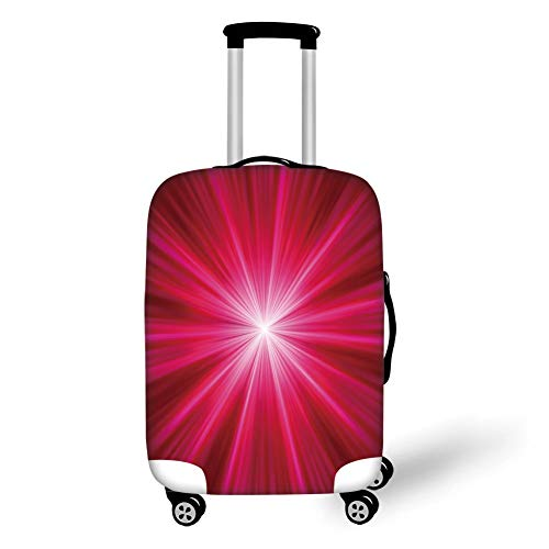 Travel Luggage Cover Suitcase Protector,Hot Pink,Abstract Explosion Image Lively Burst Rays Sunbeams Inspired Futuristic Decorative,Red Hot Pink White,for Travel M (Leopard Koffer Hard-shell)