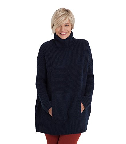 Womens Lambswool Chunky Roll Neck Jumper Navy, S