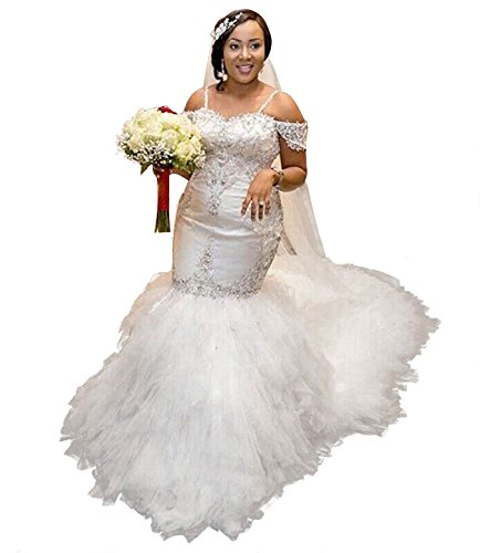 Lovelybride Frauen Lace Satin Perlen Spaghetti-Trägern Mermaid Style Brautkleider White 32