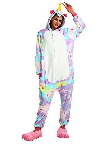 Einhorn PyjamaTierkostüme Jumpsuit Erwachsene Schlafanzug Unisex Cosplay (L(Höhe162-175CM), Violett Star) (Karton Star Kostüm)