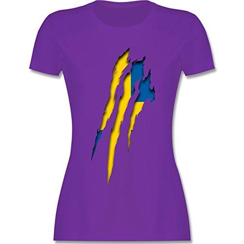 Länder - Schweden Krallenspuren - tailliertes Premium T-Shirt mit Rundhalsausschnitt für Damen Lila