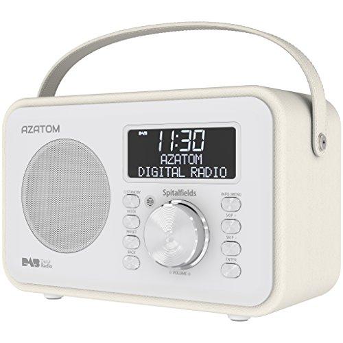 Spitalfields Retro DAB / DAB+ Digital FM Portable Radio / Alarm Clock / Leather Effect Finish / Mains Powered / Rechargable Battery / Subwoofer / Premium Stereo Sound (White)