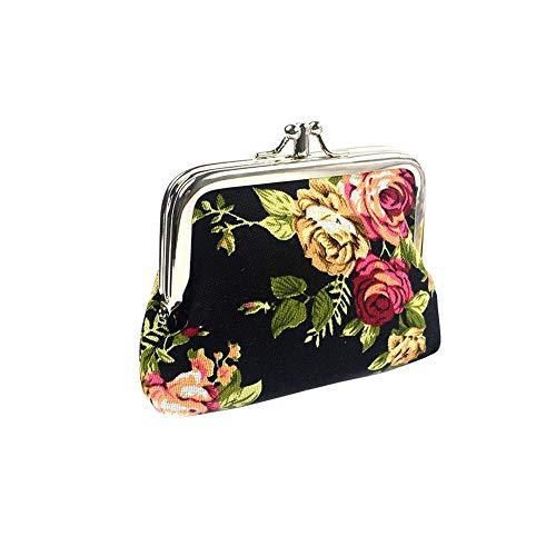 1Pc Geldbörse Handytasche Canvas Folk-custom Verschluss Geldbörse Verschiedene Blumenmuster Wallet Exquisite Geschenk für Frauen Mädchen (Schwarz) -