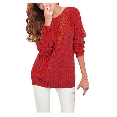 Koly _Manica lunga donne lavorato a maglia Pullover maglione (Rosso )