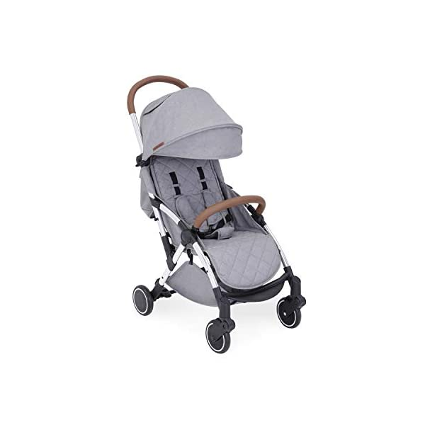 Ickle Bubba Globe Max Baby Stroller | Lightweight and Portable Stroller Pushchair | Folds Slim for Ultra Compact Storage | UPF 50+ Extendable Hood, Footmuff and Rain Cover | Grey/Silver Ickle Bubba ONE-HANDED 3 POSITION SEAT RECLINE: Baby stroller suitable from birth to 15kg-approx. 3 years old; features luxury soft quilted seat liner, footmuff, cupholder, and rain cover UPF 50+ RATED ADJUSTABLE HOOD: Includes a peekaboo window to keep an eye on the little one; extendable hood-UPF rated-to protect against the sun's harmful rays and inclement weather ULTRA COMPACT AND LIGHTWEIGHT: Easy to transport, aluminum frame is lightweight and portable-weighs only 6.4kg; folds compact for storage in small places-fits in aeroplane overhead; carry strap and leather shoulder pad included 8