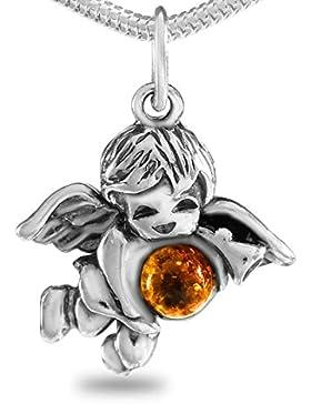 Schutzengel mit Kinderkette 36cm aus echt 925 Silber und Naturbernstein Geschenkbox - Engel Jungen Kettenanhänger...
