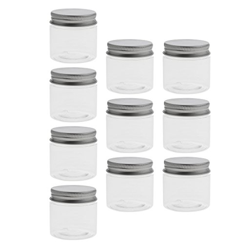 Sharplace 10 Pcs Pot Vide Rond en Plastique Transparent avec Couvercle Cosmetic Container Rangement pour Crèmes Stockage Onguents Toners - Taille Optionnelle - 60ml