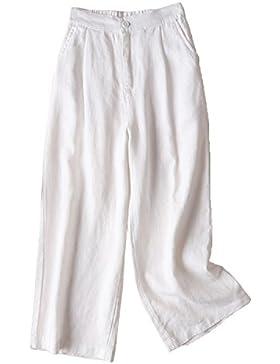 Aeneontrue Mujer Pantalones Lino Ancho Piernas Casual Alta Color Sólido Capri Pantalone con Bolsillos con cintura...