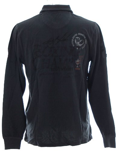 Kitaro Herren Langarm Shirt Polokragen Poloshirt Boxing Champ Dusty Navy