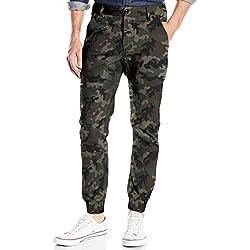 Italy Morn Hombres Chinos pantalones casuales pantalones de color caqui sarga de algodón pantalones de frente plano Joggers vestido Slim Fit Stretch M Camuflaje