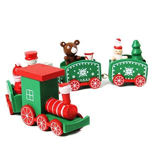 Funhoo Mini Zug Eisenbahn Modell 5-teilig Weihnachtszug Weihnachten Tischdeko Ornamente Spielzeug Geschenk Party Dekoration für Kinder